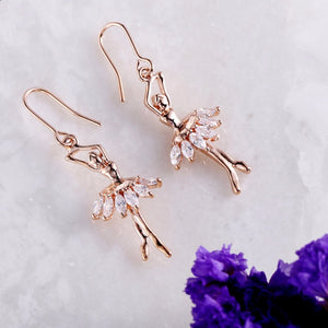 Crystal and copper ballerina earrings