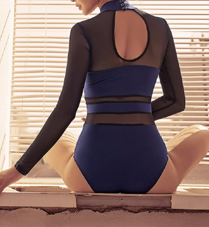 Back of Mesh navy leotard with mesh long sleeve