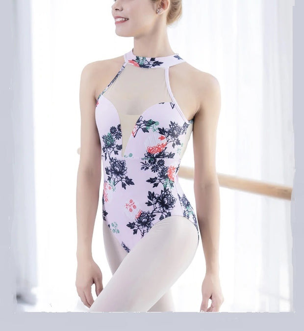 Front of high neck sleeveless floral leotard ballet dance