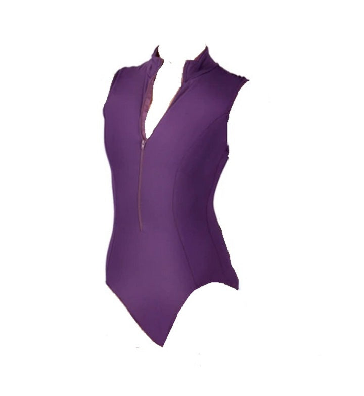 Front of zipper front leotard fuschia