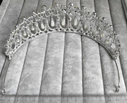 back of crystal and pearl princess diana style tiara with measurements