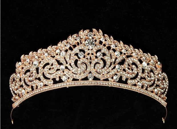 front of gold ballet or wedding tiara
