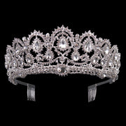 Front of silver tone ballet wedding crown/tiara with crystals.