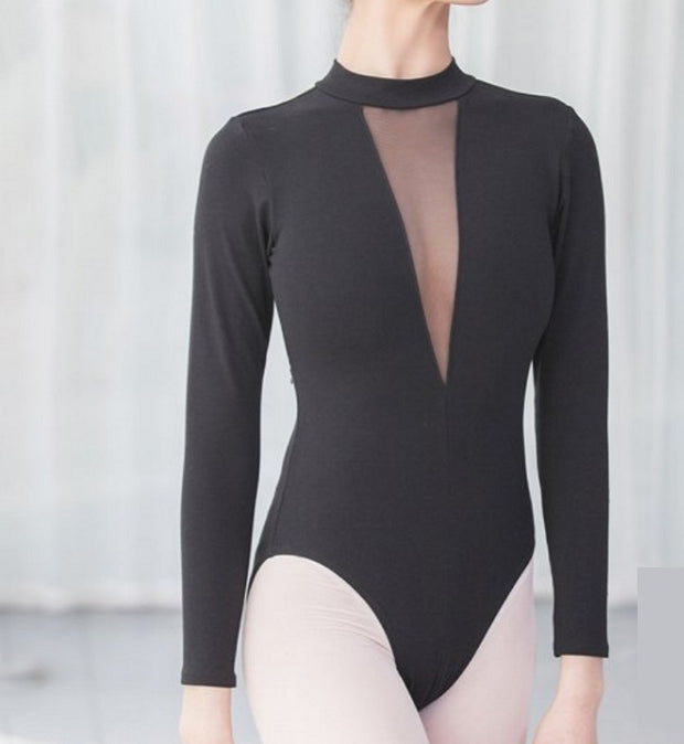 Front of black long sleeve ballet leotard with high v neck.