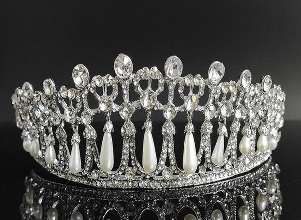 front of crystal and pearl princess diana style ballet tiara