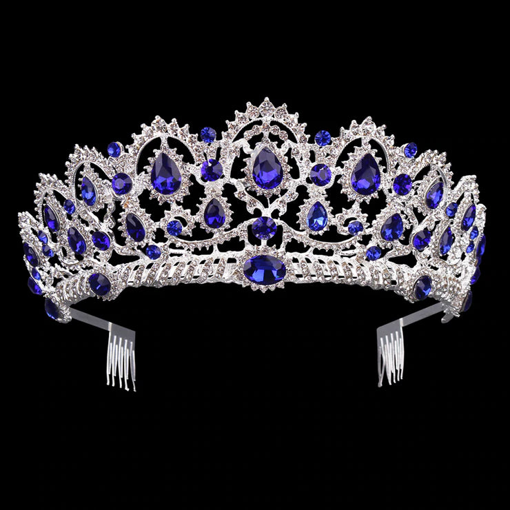 Front of silver tone ballet wedding crown/tiara with sapphire colored jewels.