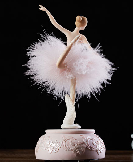 Back of music box with Pink Ballerina doing attitude