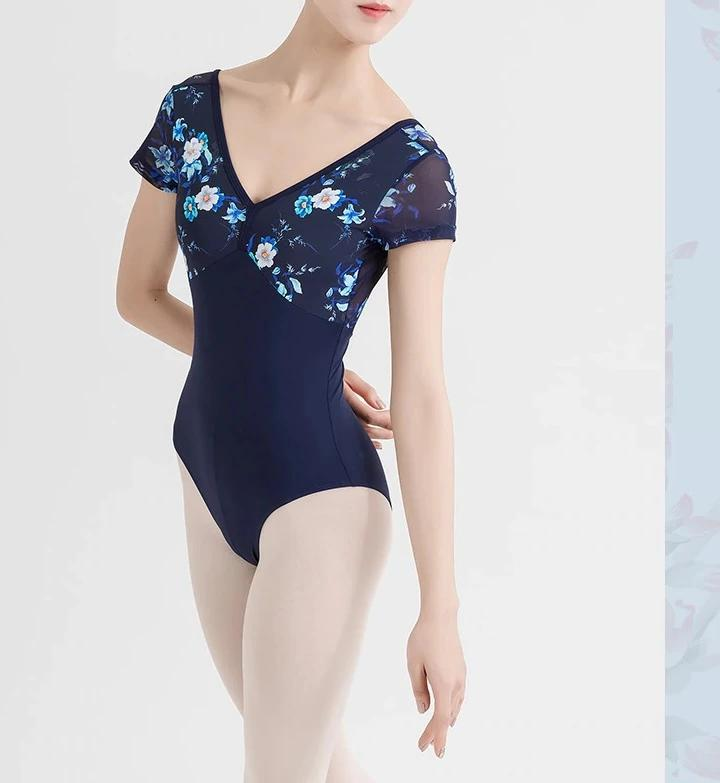 front of floral and blue short sleeved leotard