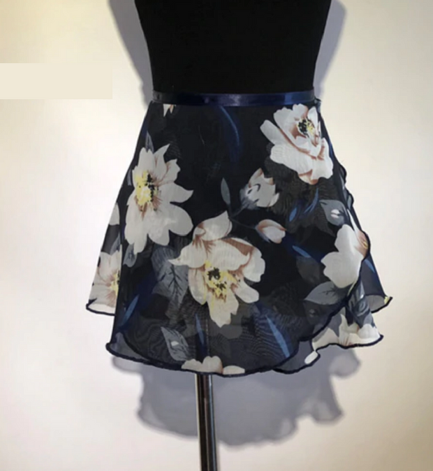 Black and White floral ballet wrap skirt