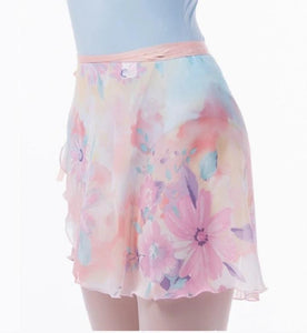 front of pastel floral ballet wrap skirt