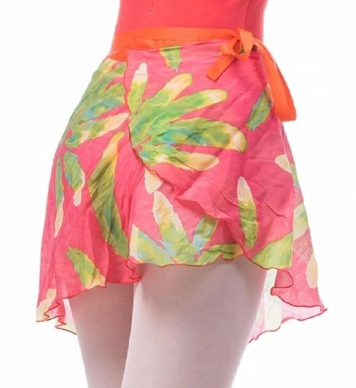 tropical pink and green ballet wrap skirt