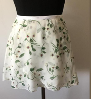 WHITE AND GREEN CHIFFON BALLET WRAP SKIRT