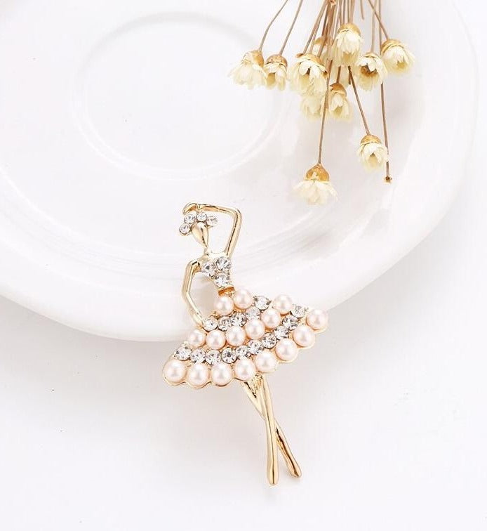 Ballerina Pin brooch made with crystals and faux pearls