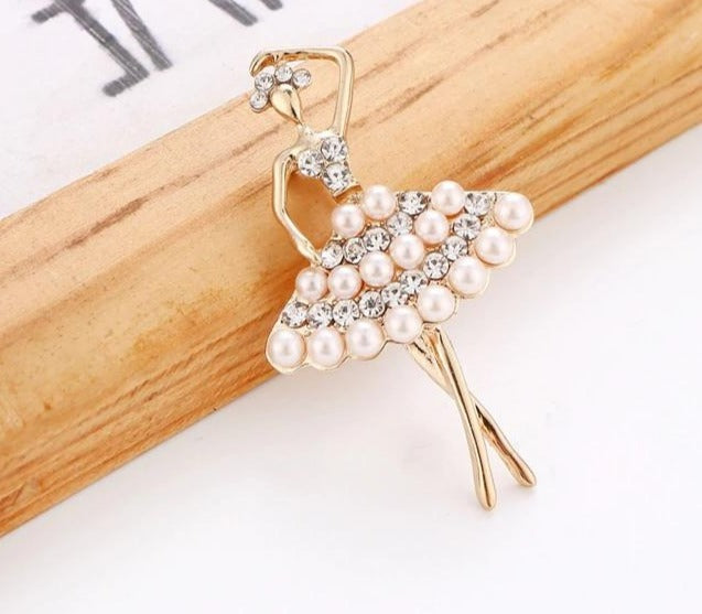 The Evelina Crystal Ballerina Pin