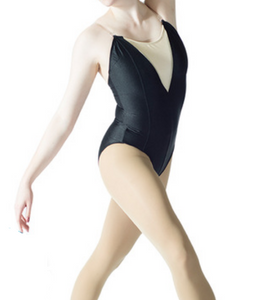 black camisole leotard with nude front insert