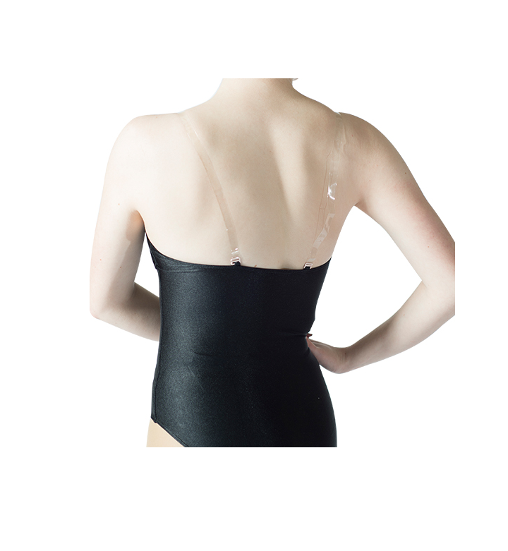 back of black camisole leotard with nude front insert