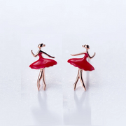 Red Ballerina stud earrings