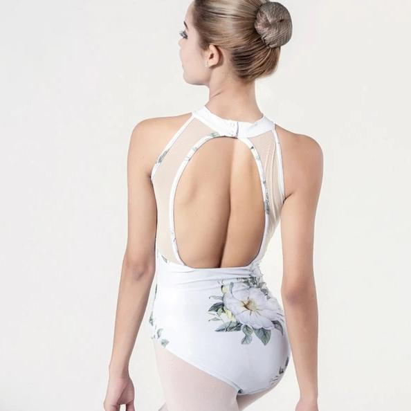 back of high neck sleeveless floral leotard ballet dance