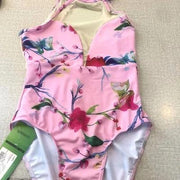 front of high neck sleeveless pink floral leotard ballet dance