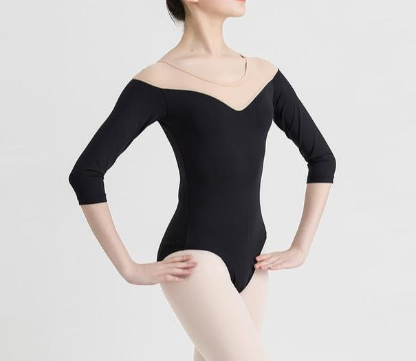 black long sleeve leotard with v front