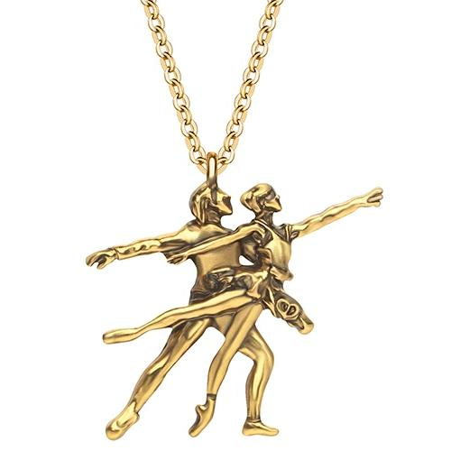 Gold colored ballet pas de deux necklace