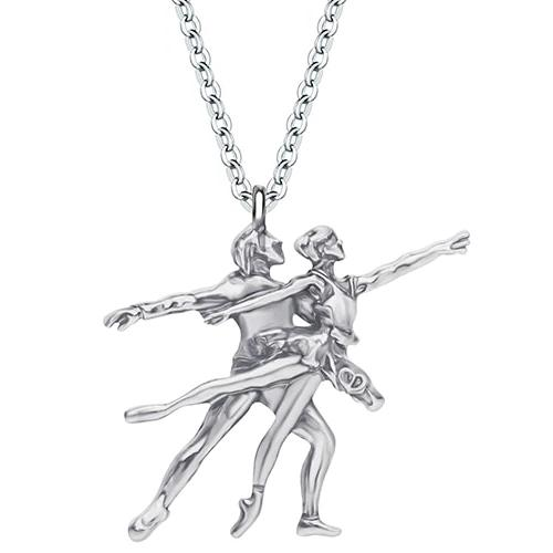Silver colored ballet pas de deux necklace