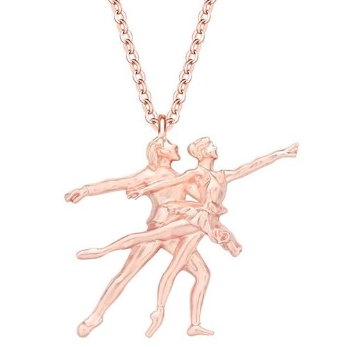 Rose gold colored ballet pas de deux necklace