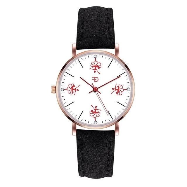 Front of dancer ballerina watch with black band