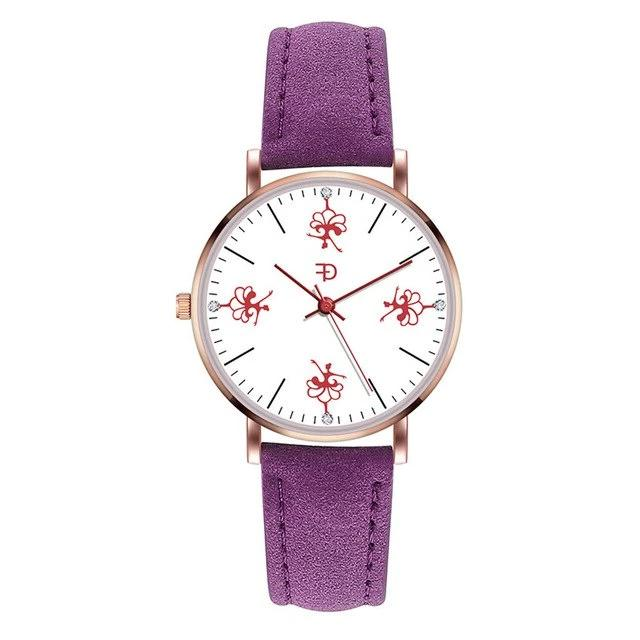 Front of dancer ballerina watch with purple band