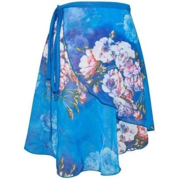 blue and floral ballet wrap skirt