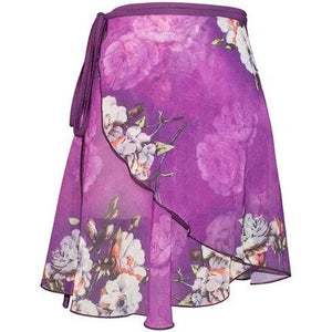 purple and floral ballet wrap skirt