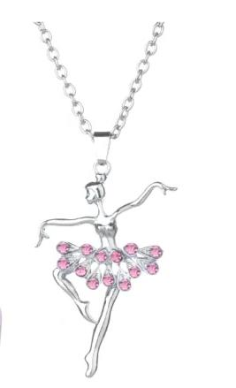 pink rhinestone ballerina necklace dancer