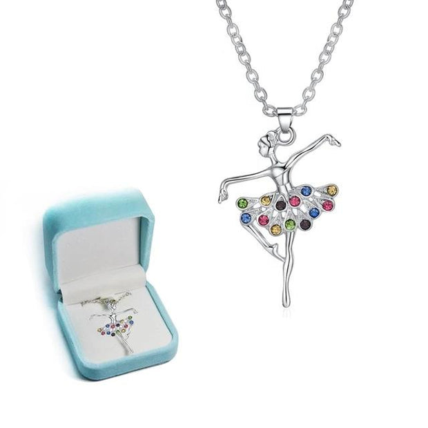 multicolored rhinestone ballerina necklace dancer
