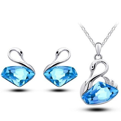 blue crystal swan earring and necklace set