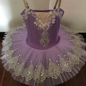 front of girls professional style bell tutu in lavender