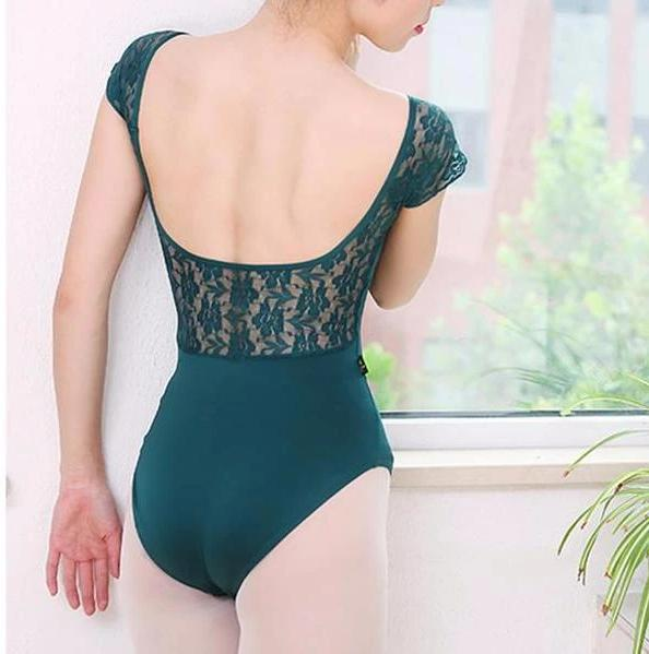 Green short sleeve leotard with lace back
