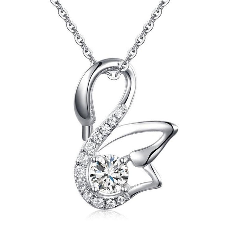 The Crystal and Silver Swan Necklace