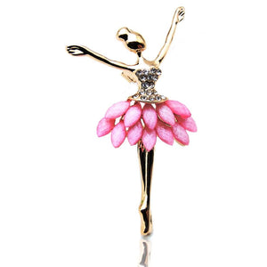 Ballerina Fashion Pin with pink faux stones and rhinestones