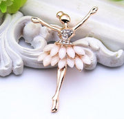 ballerina fashion pin with faux stones and rhinestones