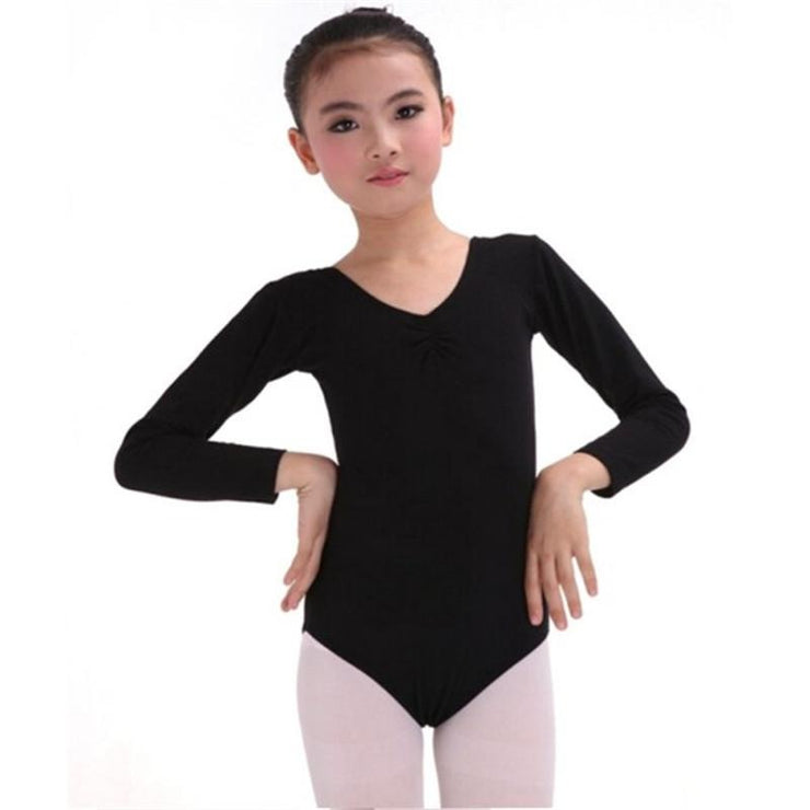 girls black long sleeve leotard