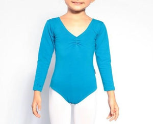girls turquoise long sleeve leotard