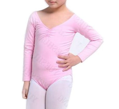 girls pink long sleeve leotard
