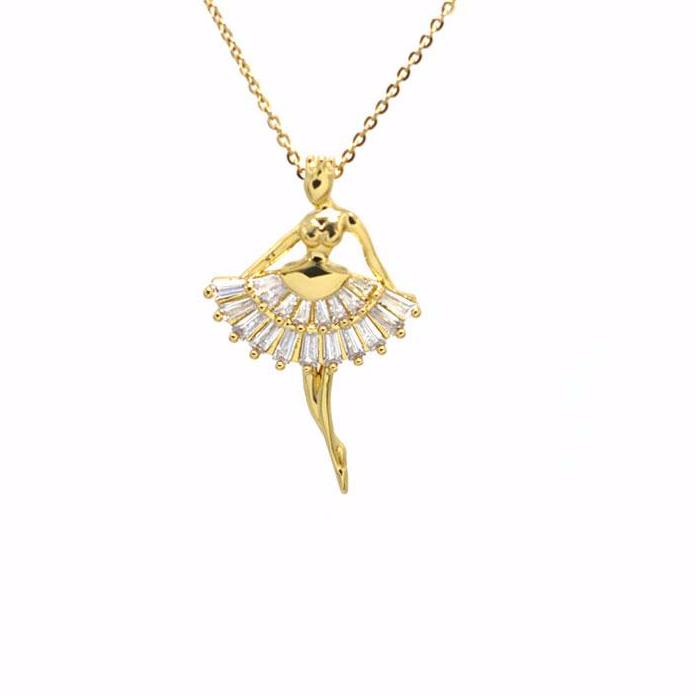 front of gold tone and crystal ballerina necklace
