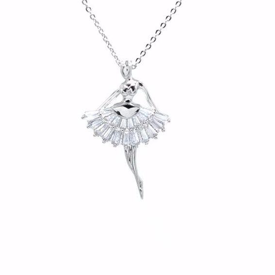 front of silver tone crystal ballerina necklace