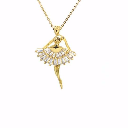 front of gold tone crystal ballerina necklace