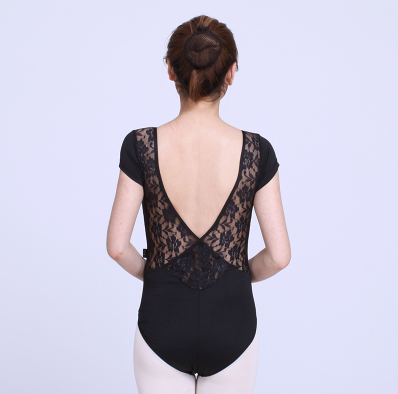 woman wearing black lace back leotard