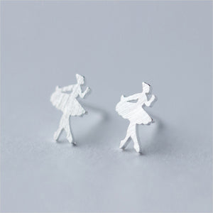 Silver Ballerina Stud Earrings