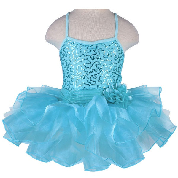 turquoise girls tutu dress with flower bow