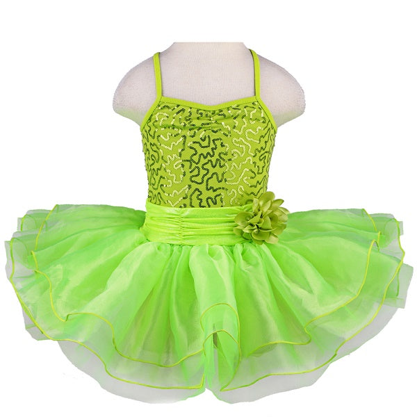 lime green girls tutu dress with flower bow