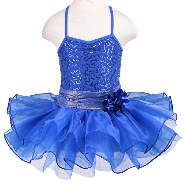 royal blue girls tutu dress with flower bow